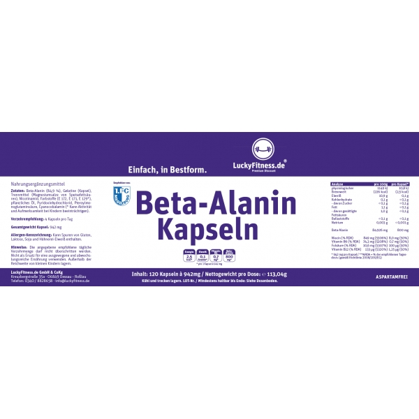 Beta Alanin (800mg, 120 Kapseln)